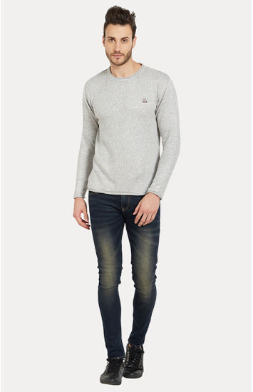 Grey Melange Slim Fit Sweatshirts