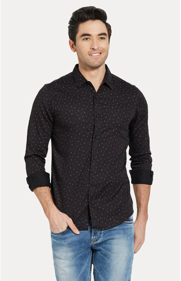 Black Printed Slim Fit Casual Shirts