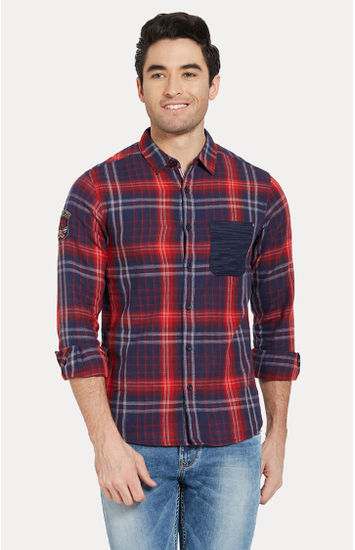 Red & Navy Checked Slim Fit Casual Shirts