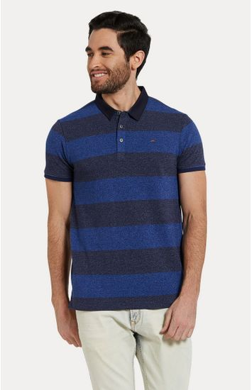 Blue Striped Slim Fit Polo T-Shirt