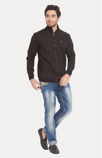 Brown Solid Slim Fit Bomber Jackets