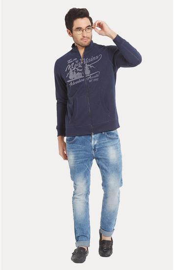 Blue Printed Slim Fit Sweatshirts
