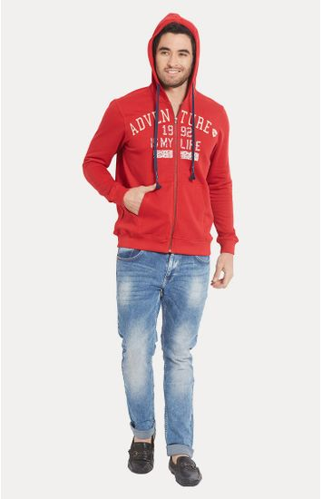 Red Printed Slim Fit Hoodies