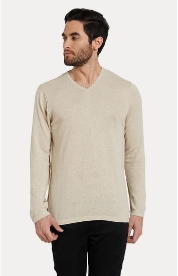 Beige Melange Slim Fit T-Shirts