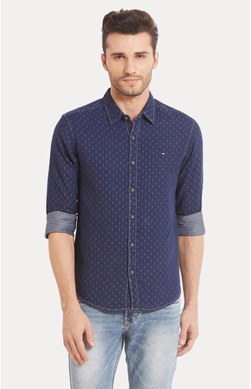 Blue Printed Slim Fit Casual Shirts