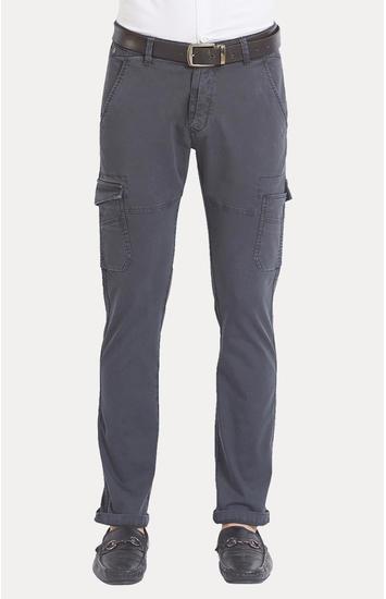 Grey Solid Slim Fit Cargos