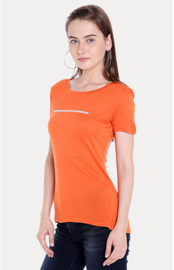 Orange Solid Regular Fit T-Shirts