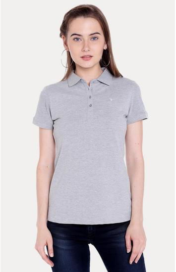 Grey Melange Regular Fit T-Shirts