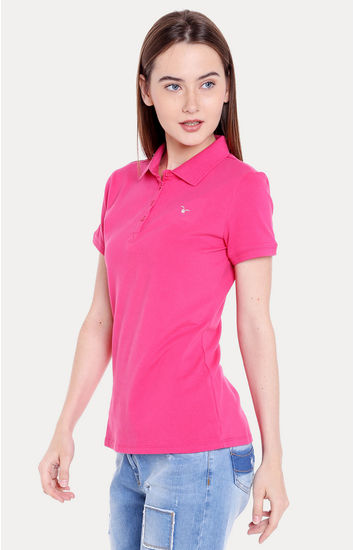 Pink Solid Regular Fit T-Shirts
