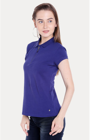 Blue Solid Regular Fit T-Shirts