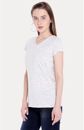 White Melange Regular Fit T-Shirts