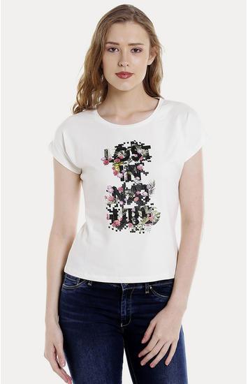 White Printed Regular Fit T-Shirts