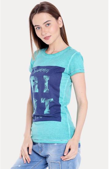 Green Printed Regular Fit T-Shirts
