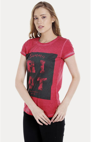 Red Printed Regular Fit T-Shirts