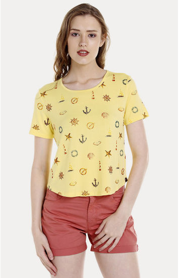 Yellow Printed Regular Fit T-Shirts