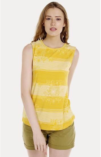 Yellow Striped Regular Fit Blouson Top