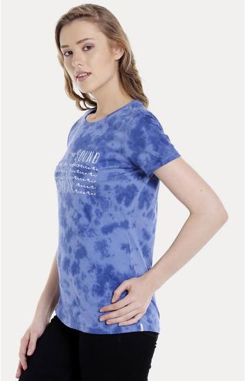 Blue Printed Regular Fit T-Shirts