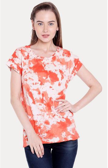 Orange Printed Regular Fit T-Shirts