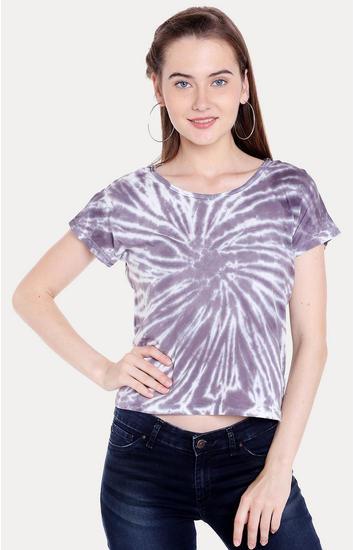 Purple Printed Regular Fit Crop Top