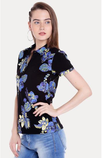 Black Floral Regular Fit T-Shirts