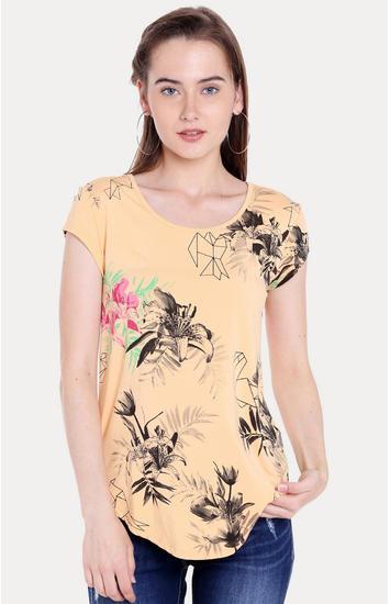 Orange Floral Regular Fit T-Shirts