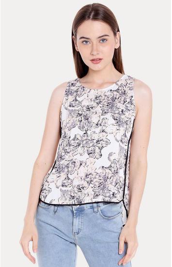 White Printed Regular Fit Blouson Top