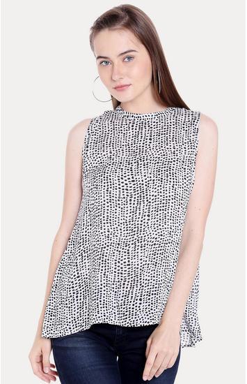White & Black Printed Regular Fit Blouson Top