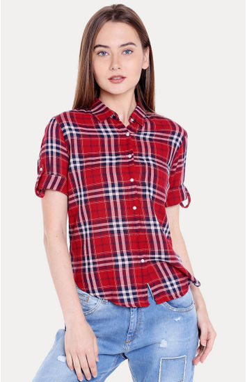 Red Checked Regular Fit Casual Shirts