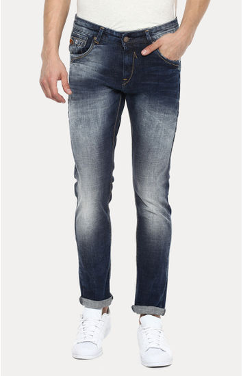 Navy Blue Solid Skinny Fit Jeans