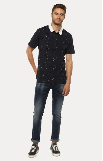Navy Blue Printed Slim Fit Polo T-Shirt