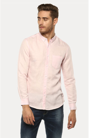 Light Pink Solid Slim Fit Casual Shirts