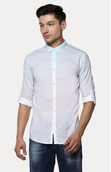 Light Blue Solid Slim Fit Casual Shirts