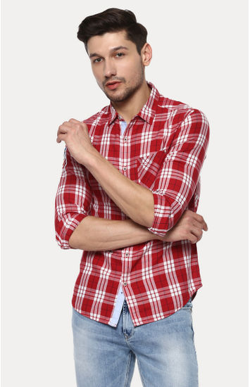 Red Checked Slim Fit Casual Shirts