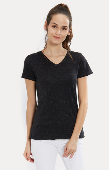 Black Melange Slim Fit T-Shirts