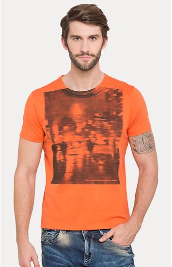 Orange Printed Slim Fit T-Shirts