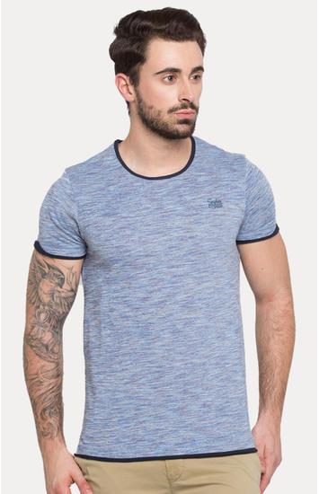 Blue Melange Slim Fit T-Shirts