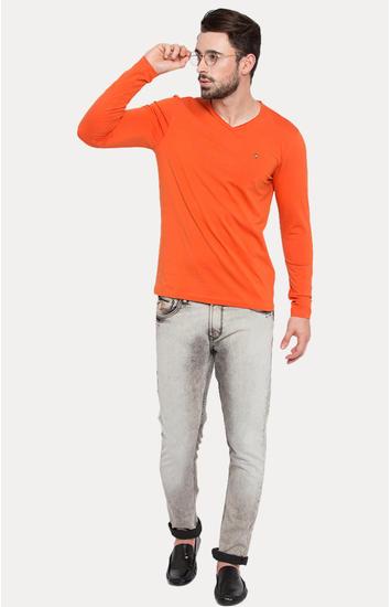 Orange Solid Slim Fit T-Shirts