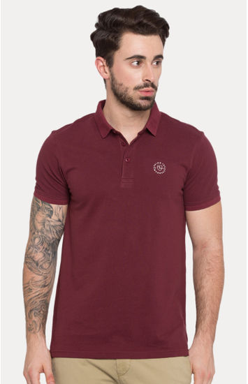 Red Solid Slim Fit Polos