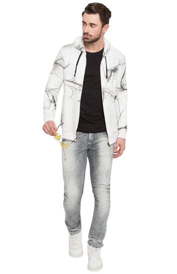 White Printed Slim Fit Hoodies