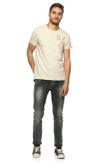 Ecru Printed Slim Fit T-Shirts