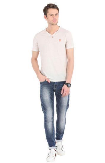 Pink Melange Slim Fit T-Shirts