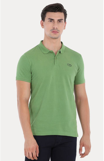 Green Solid Slim Fit Polo T-Shirt