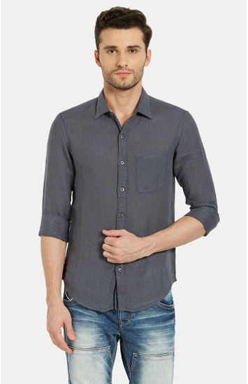 Grey Solid Slim Fit Casual Shirts