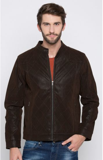 Brown Solid Regular Fit Front Open Jackets
