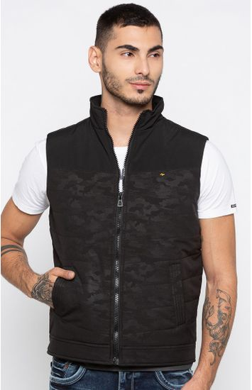 Black Camouflage Regular Fit Front Open Jackets
