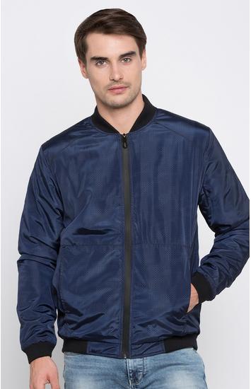 Blue Solid Regular Fit Bomber Jackets
