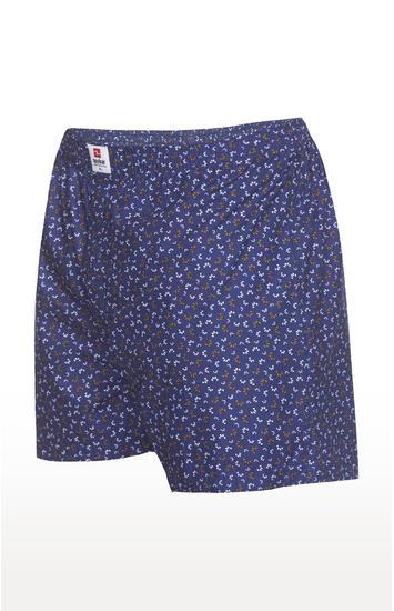 Navy Printed Slim Fit Boxers