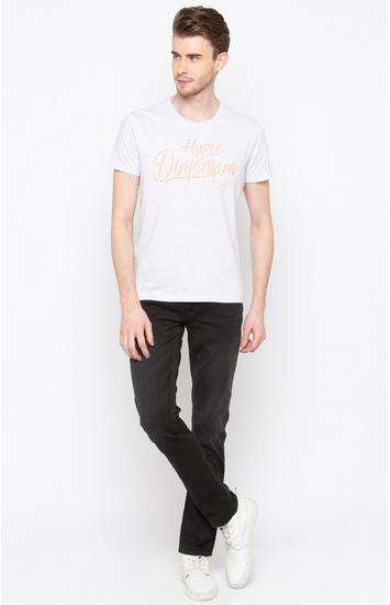 Carbon Black Solid Regular Fit Jeans