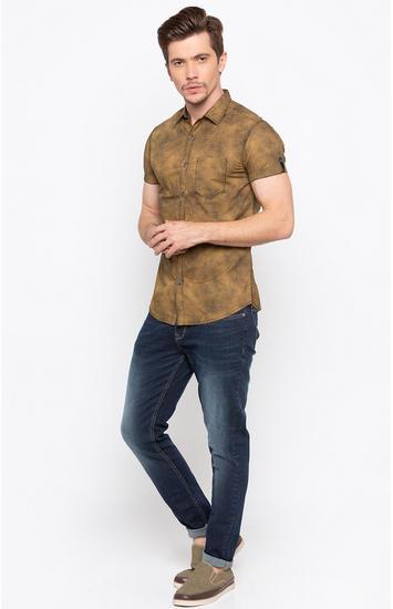Khaki Melange Slim Fit Casual Shirts