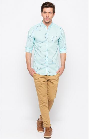 Aqua Printed Slim Fit Casual Shirts